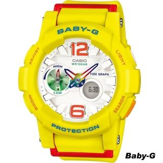 【BABY-G】衝浪與滑板極限運動錶(BGA-180-9B 黃x紅)