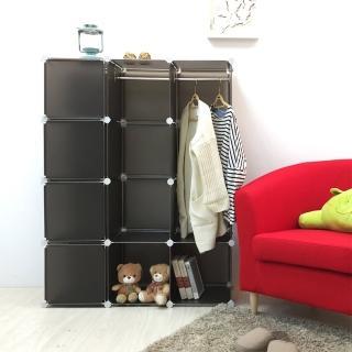【ikloo宜酷屋】魔術空間12格衣櫥附門4片組合櫃(黑色)