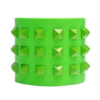 【VALENTINO】Rockstud小牛皮鉚釘造型寬版手環(螢光綠GWJ00254-AVL301-G05)