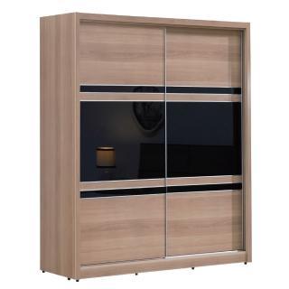 【綠活居】吉肯斯  5尺木紋推門衣櫃組合