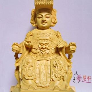 【養慧軒】金剛砂陶土精雕佛像-媽祖娘娘(木色    含底座)