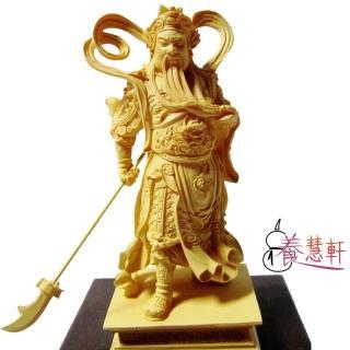 【養慧軒】金剛砂陶土精雕佛像  迦藍關公(木色、含木製底座)