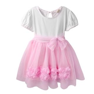 【baby童衣】嬰兒洋裝 短袖緞帶蝴蝶結紗紗裙 52351(淡粉)