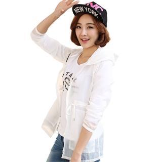 【LOTUS】涼感防曬清透抗UV防曬連帽外套沙灘外套(白色)