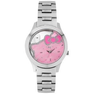 【Hello Kitty】凱蒂貓 焦點美人鏤空腕錶-粉紅x銀(LK677LWPI)