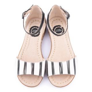 【美國LIVIE & LUCA】中大童 真皮手工嬉皮塗鴉涼鞋(Z025-白)