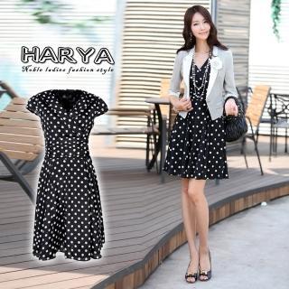 【HARYA  赫亞】黑底白點短袖氣質風洋裝