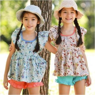 【baby童衣】女童上衣 印花無袖荷葉領上衣裙 52261(共二色)