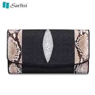 【Sarlisi】魅力珍珠魚皮蟒蛇紋長夾(黑色、紅色)