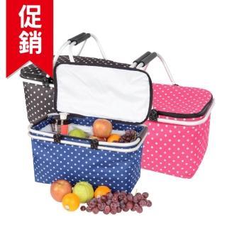 【LIFECODE】點點風-鋁合金折疊保冰袋/野餐提籃-桃紅色/藍色/咖啡色(3色可選)