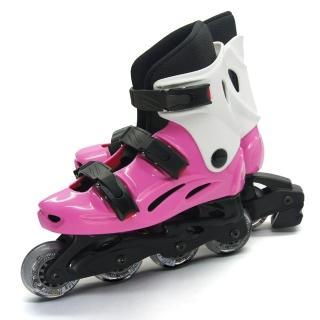 【D.L.D多輪多】高塑鋼底座 專業直排輪 溜冰鞋(粉紅白--530)