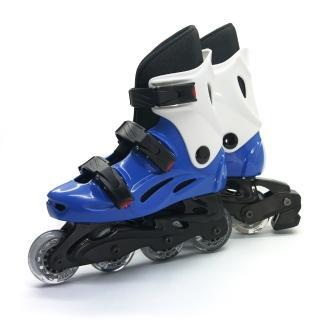 【D.L.D多輪多】高塑鋼底座 專業直排輪 溜冰鞋(水藍白--530)