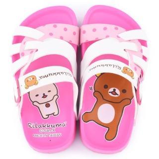 【童鞋城堡】拉拉熊 中童 不對稱中底軟木風格拖鞋(KM2627-白)