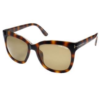 【TOM FORD太陽眼鏡】貓眼型雙色系-琥珀框-棕色鏡面(TF9348-52K)