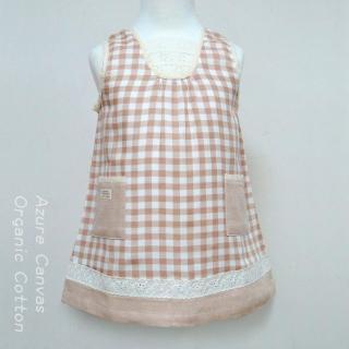 【Azure Canvas藍天畫布】100%有機棉 女童柔紗格子背心裙洋裝(褐格紋)