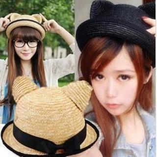 【PS Mall】可愛貓耳朵圓頂卷邊 黑蝴蝶結草帽 遮陽帽 沙灘帽 草帽子(G1271)