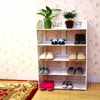 【Osun】DIY木塑板置物架 歐式白色雕花五層鞋架-加寬(CE-178-XJ-006)