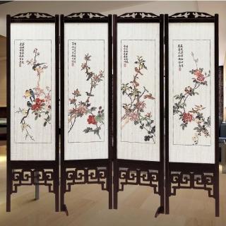 【時尚屋】中國風國畫彩色花鳥雙面屏風(2T5-612)