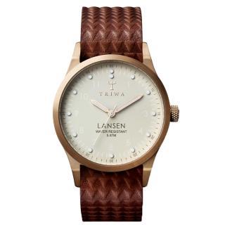 【TRIWA】LANSEN系列 北歐民俗風格時尚腕錶-玫瑰金X咖啡(LAST117-MG010214)