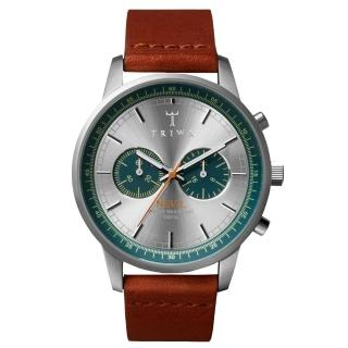 【TRIWA】Nevil系列 紳士牛仔兩眼計時腕錶-藍X咖啡(NEST107-CL011812)