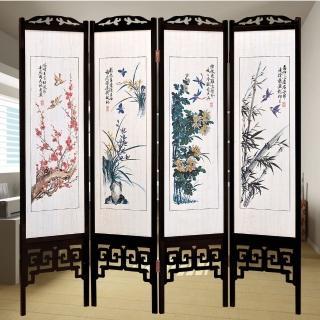【時尚屋】中國風國畫四季花彩色雙面屏風(2T5-617)