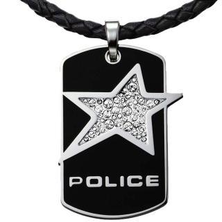 【POLICE】Rocrstar搖滾之星皮繩項鍊-黑