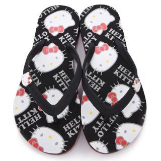 【三麗鷗】Hello Kitty 女款 滿板kitty夾腳拖(910771-黑)