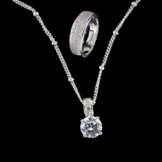 【xmono】開運彩寶系列項鍊戒指套組(八心八箭方晶鋯石)