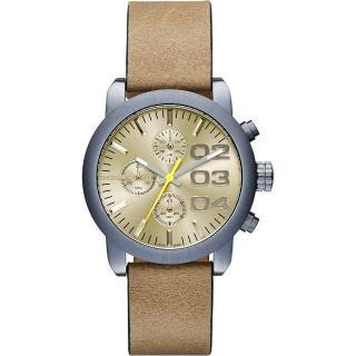 【DIESEL】Flare 美式狂潮計時腕錶-黃x卡其(DZ5462)