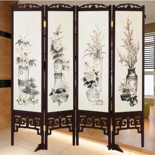 【時尚屋】中國風國畫潑墨四季花雙面屏風(2T5-615)