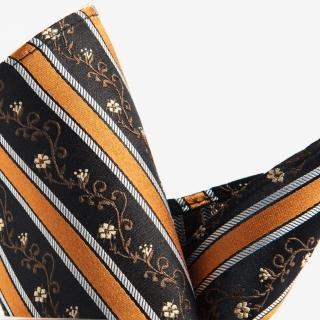 【極品西服】100%絲質口袋方巾_橘咖斜紋(YH302)