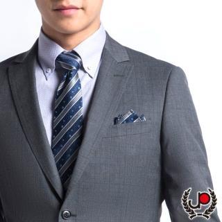 【極品西服】100%絲質口袋方巾_斜藍小花紋(YH305)