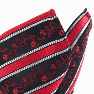 【極品西服】100%絲質口袋方巾_亮紅小花紋(YH306)