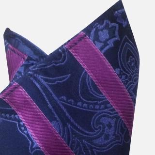 【極品西服】100%絲質口袋方巾_藍紫斜紋(YH310)