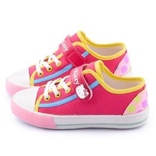 【三麗鷗】Hello Kitty 中大童 素色簡約帆布鞋(714730-桃)