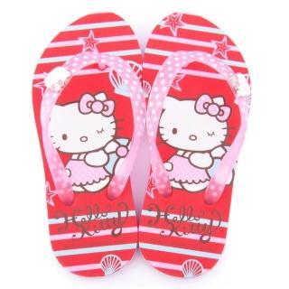 【三麗鷗】Hello Kitty 中大童 海洋氣息夾腳拖(815762-紅)