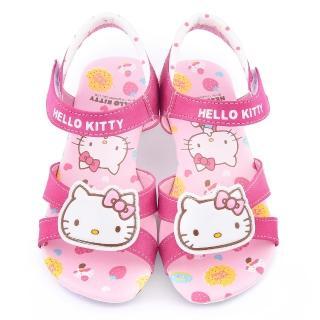 【三麗鷗】Hello kitty 中大童 甜美低跟涼鞋(815752-桃)