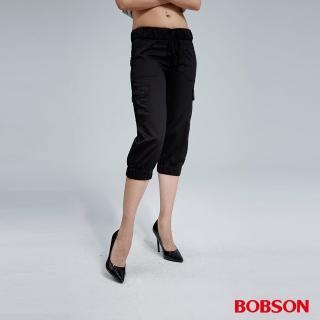 【BOBSON】女款貼袋色布鬆緊七分褲(黑)
