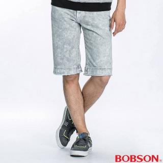 【BOBSON】男款雪花牛仔短褲(雪花白)