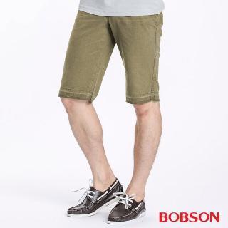 【BOBSON】男款不收邊短褲(卡其134-71)