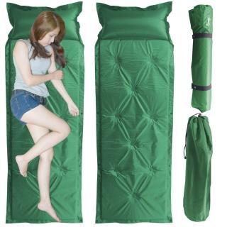 【野外休閒】露營防潮自動充氣睡墊帶枕頭(超值2入)