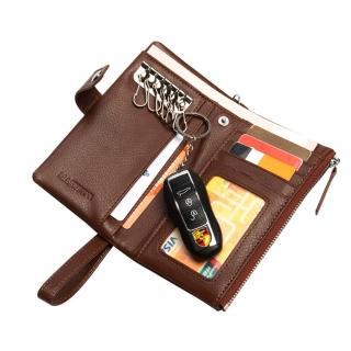 【PUSH!】男士多卡位頭層牛皮鑰匙包拉鍊式皮夾零錢包精品(防盜手腕帶款push12)