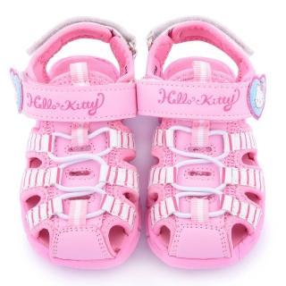 【三麗鷗】Hello Kitty 中童 條紋輕量玩水護趾涼鞋(815736-粉)