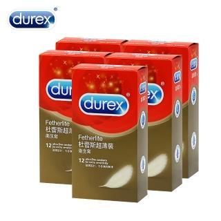 【Durex杜蕾斯】超薄型 保險套(12入X5盒-12hr)