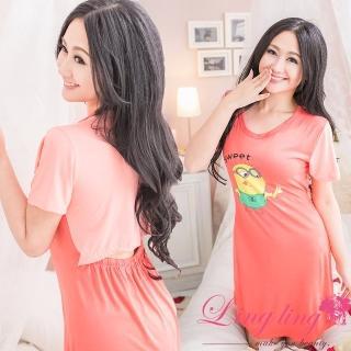 【lingling日系】PA2353全尺碼-後鏤空小黃人連身裙睡衣(舒適橘紅)