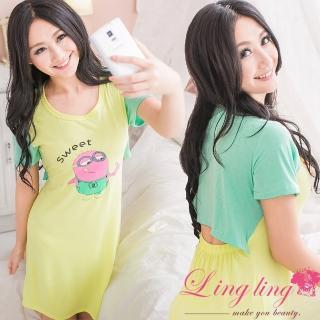 【lingling日系】PA2353全尺碼-後鏤空小黃人連身裙睡衣(螢光黃)