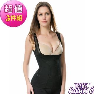 【韓依 HANN.E】420丹-超透氣蕾絲刺繡雙網紗塑身衣(6段-黑膚3件組859BS)