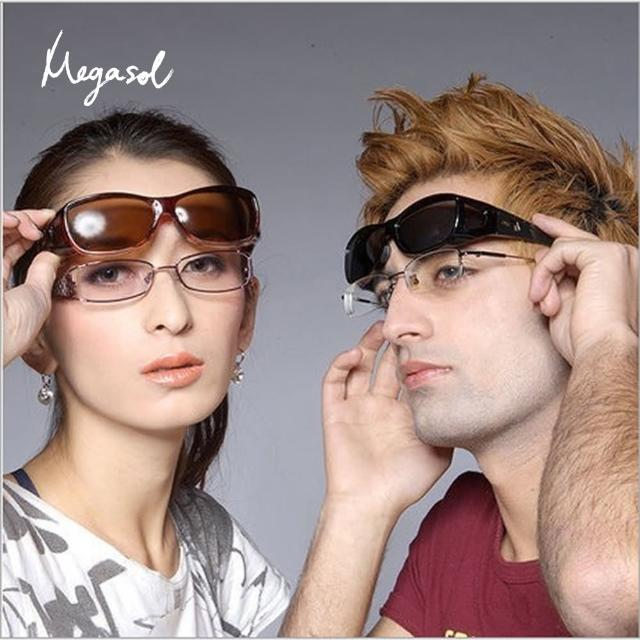 【MEGASOL】UV400偏光外掛式側開窗太陽眼鏡(A101-3009-砂黑)