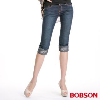 【BOBSON】雙色配線反摺7分牛仔褲(深藍141-52)