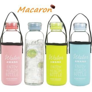 【AWANA耐熱玻璃】馬卡龍塗鴉玻璃水瓶 304#內蓋附提把套600ml/運動水壺/檸檬瓶-隨機(買1送1)